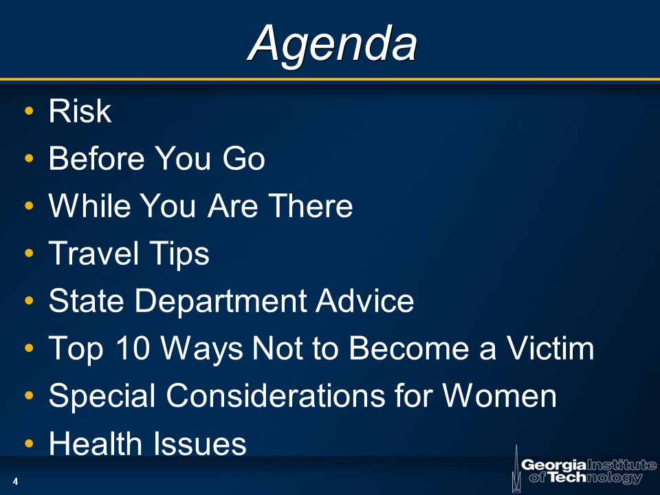 4 Agenda Risk Before You Go While You Are There Travel Tips State Department Advice Top 10 Ways Not to Become a Victim Special Considerations for Women Health Issues