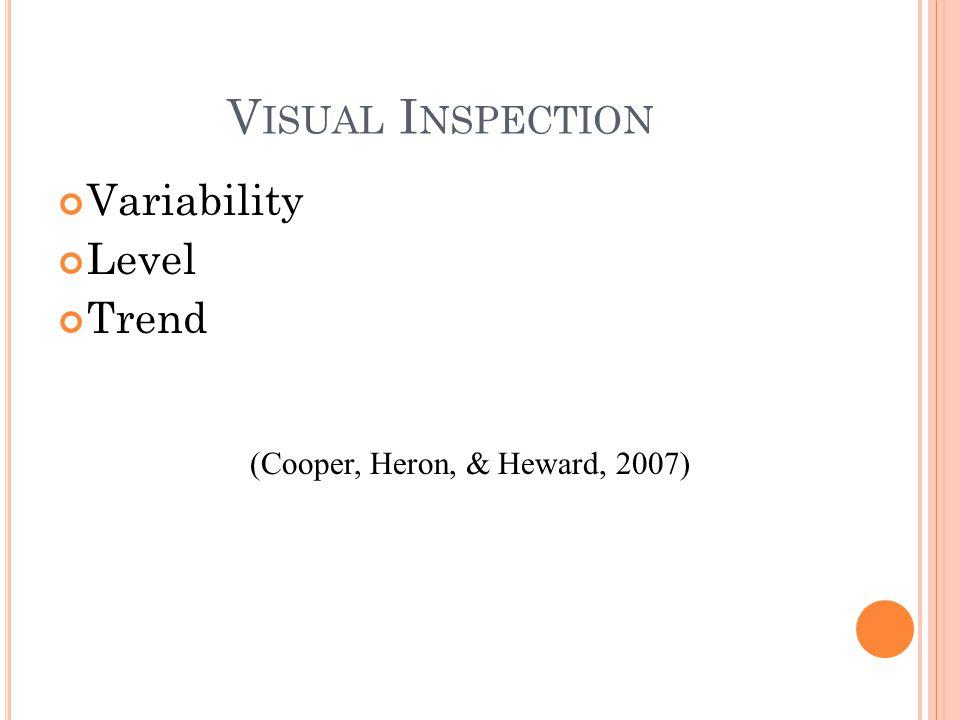 V ISUAL I NSPECTION Variability Level Trend (Cooper, Heron, & Heward, 2007)