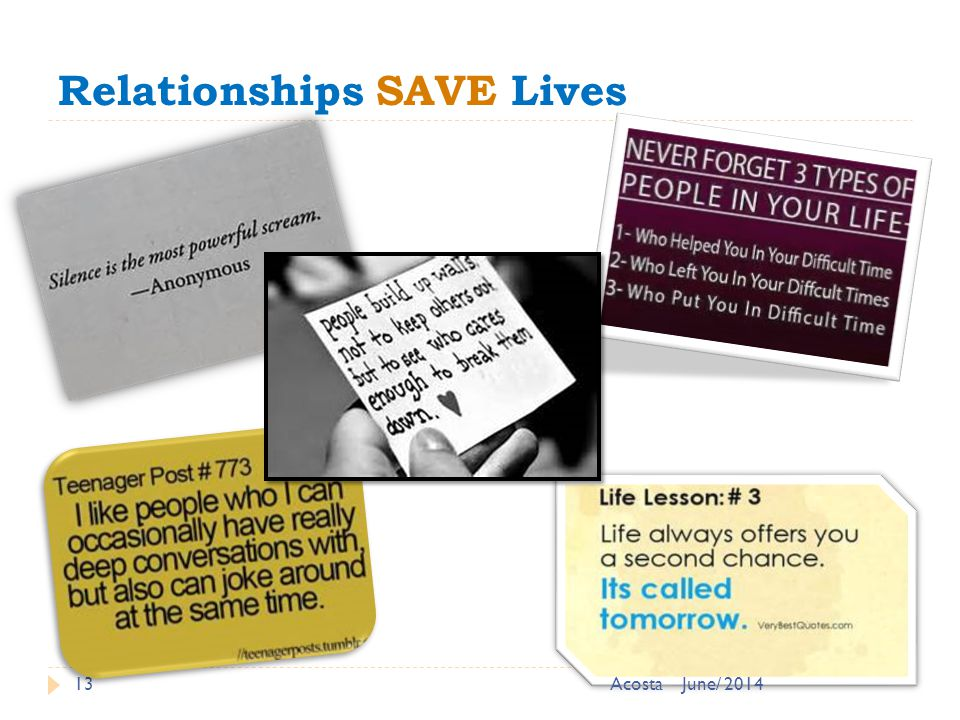 Relationships SAVE Lives 13June/ 2014Acosta