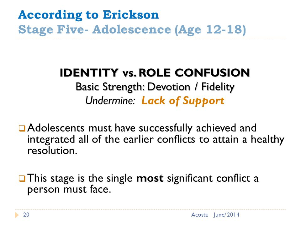 According to Erickson Stage Five- Adolescence (Age 12-18) 20 IDENTITY vs.