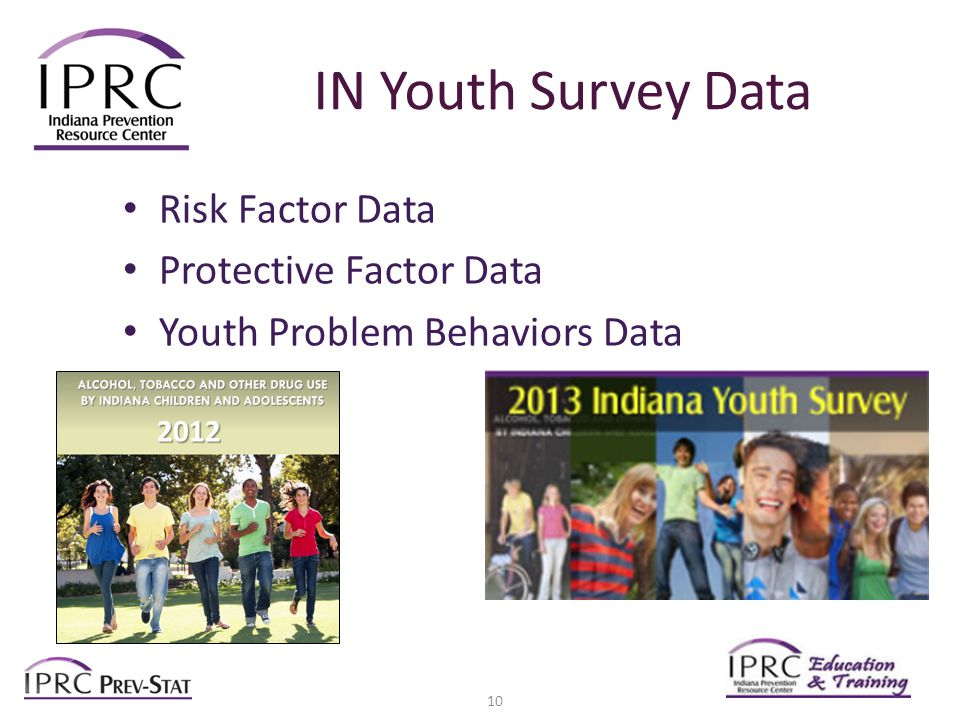 IN Youth Survey Data Risk Factor Data Protective Factor Data Youth Problem Behaviors Data 2012 10