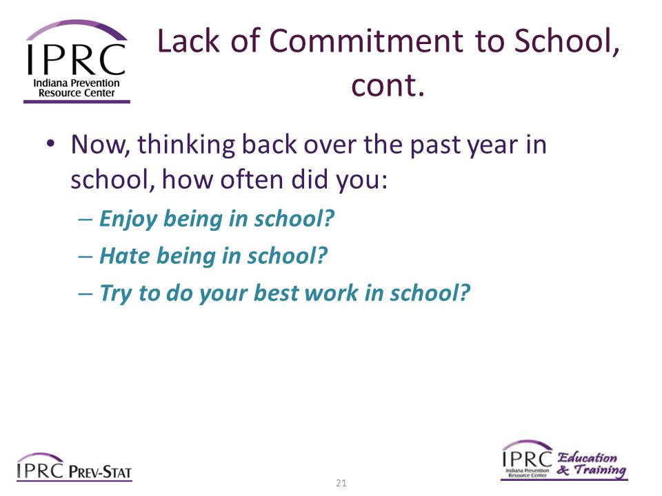 Lack of Commitment to School, cont.