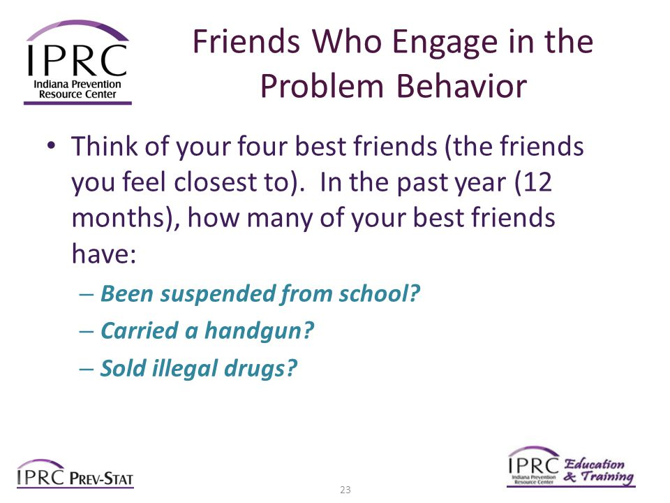 Friends Who Engage in the Problem Behavior Think of your four best friends (the friends you feel closest to).
