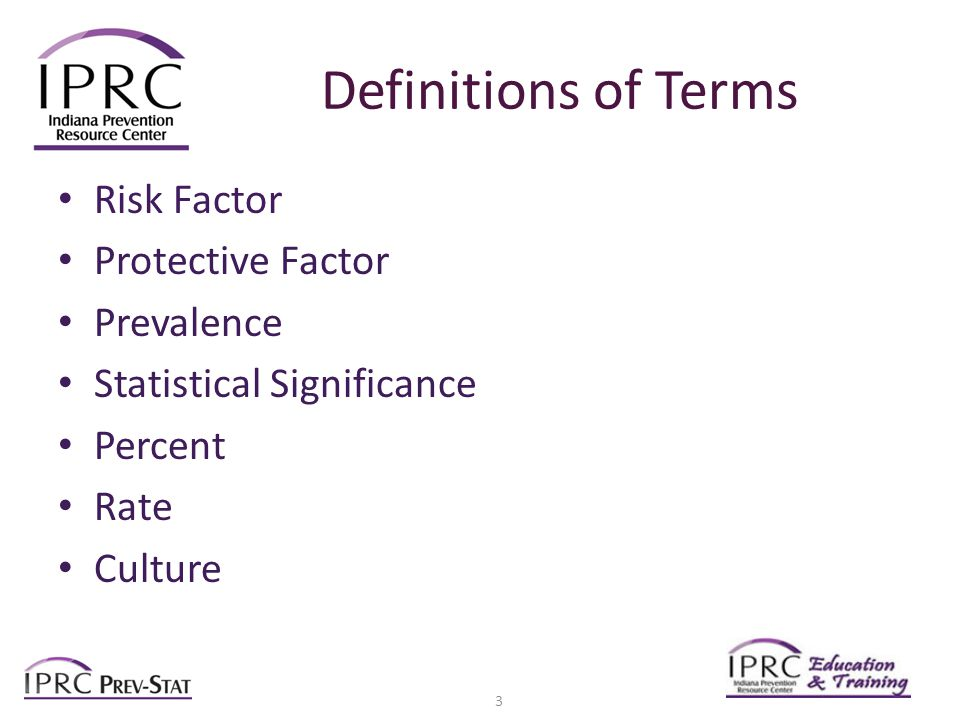 Definitions of Terms Risk Factor Protective Factor Prevalence Statistical Significance Percent Rate Culture 3