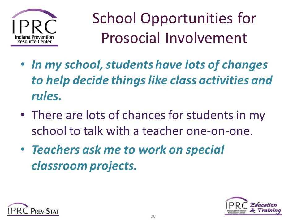 School Opportunities for Prosocial Involvement In my school, students have lots of changes to help decide things like class activities and rules.
