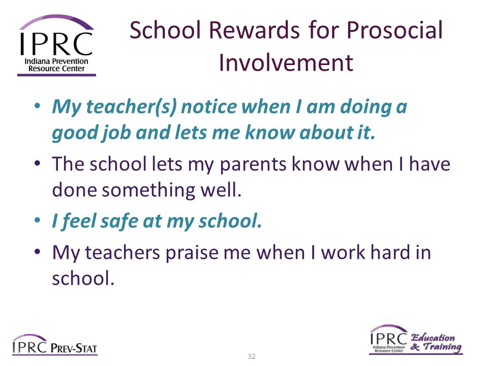School Rewards for Prosocial Involvement My teacher(s) notice when I am doing a good job and lets me know about it.