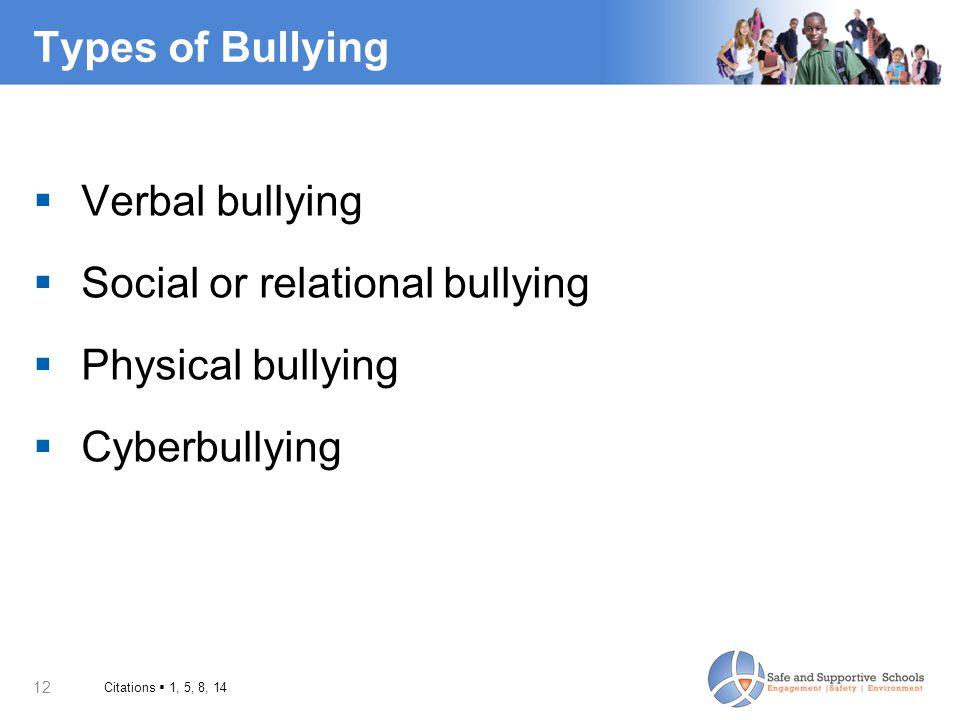 12 Types of Bullying  Verbal bullying  Social or relational bullying  Physical bullying  Cyberbullying Citations  1, 5, 8, 14