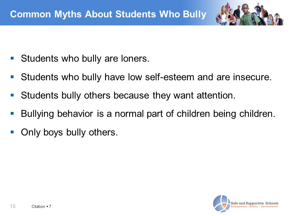 15 Common Myths About Students Who Bully  Students who bully are loners.  Students who bully have low self-esteem and are insecure.  Students bully