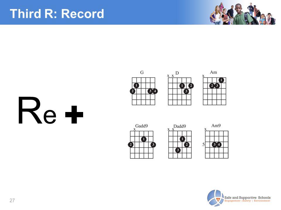 27 Third R: Record R e ✚