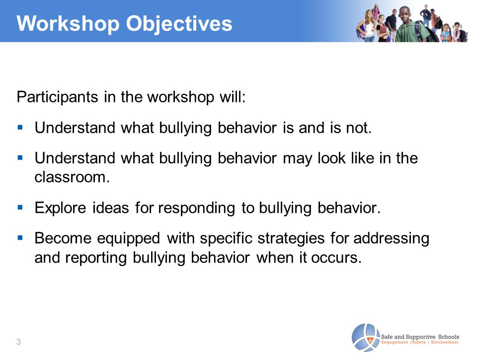 3 Workshop Objectives Participants in the workshop will:  Understand what bullying behavior is and is not.  Understand what bullying behavior may lo
