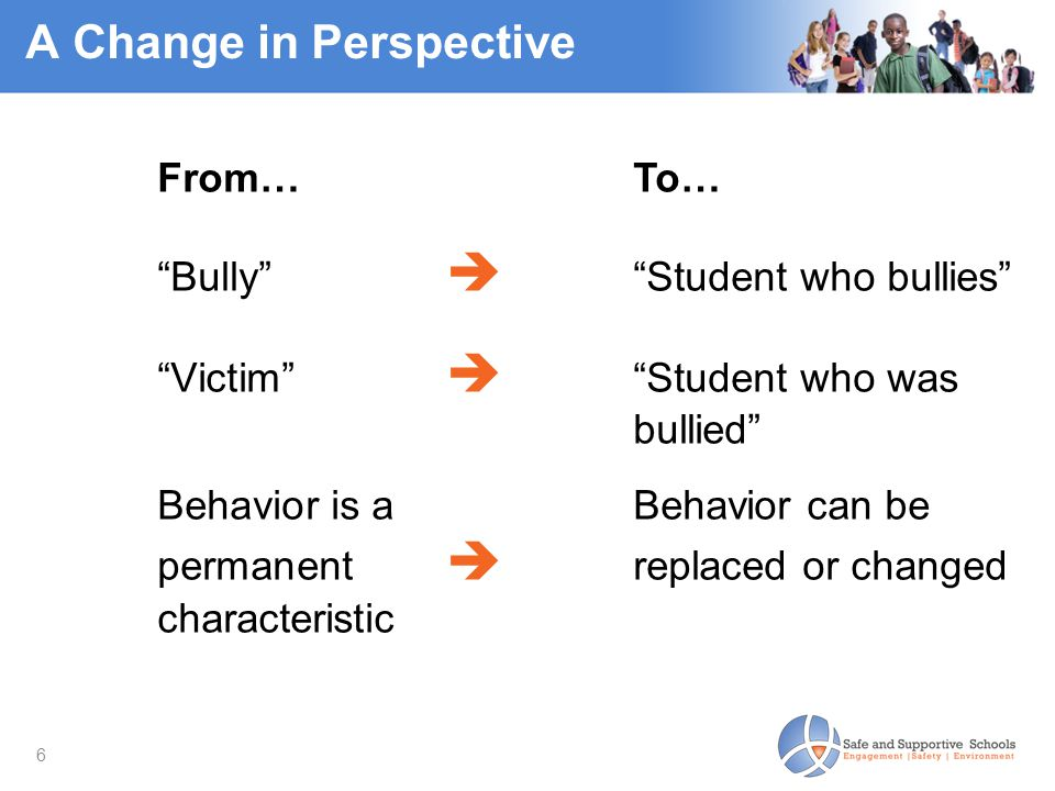 """6 A Change in Perspective From…To… """"Bully""""  """"Student who bullies"""" """"Victim""""  """"Student who was bullied"""" Behavior is aBehavior can be permanent  repla"""