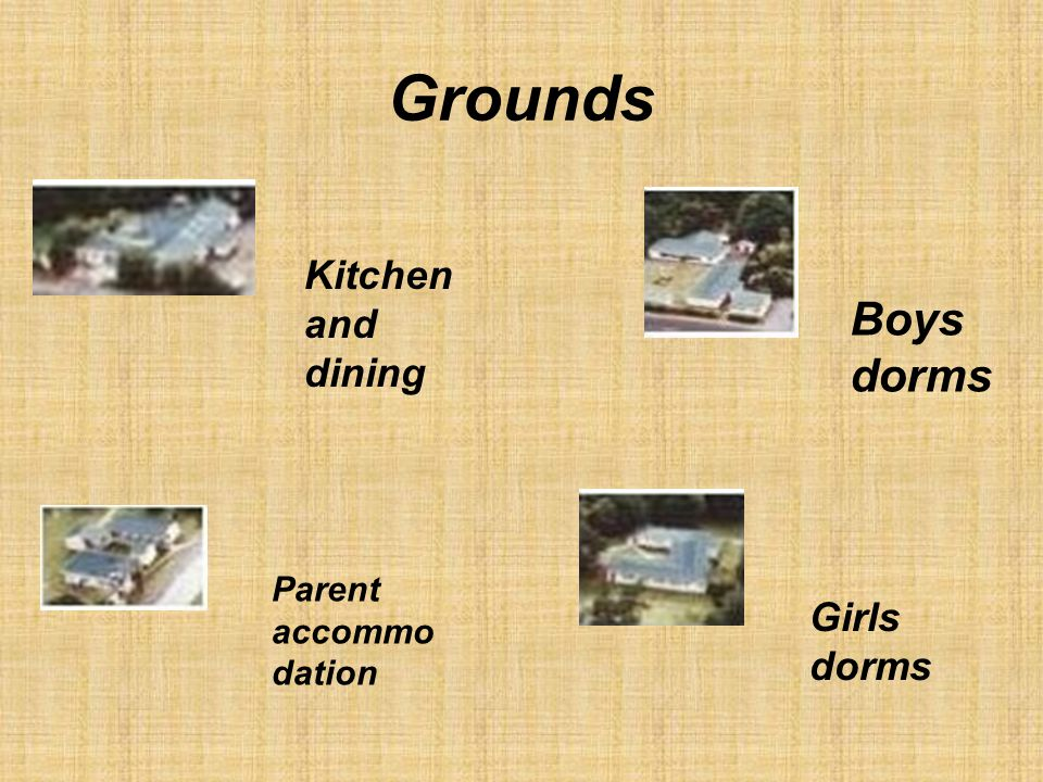 Grounds Boys dorms Kitchen and dining Girls dorms Parent accommo dation