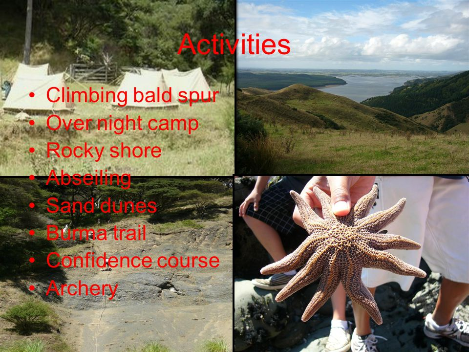 Activities Climbing bald spur Over night camp Rocky shore Abseiling Sand dunes Burma trail Confidence course Archery