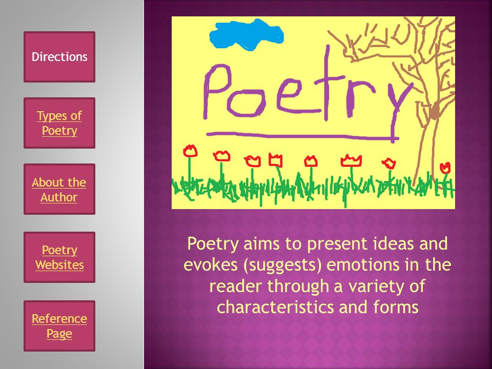 Reference Page Types of Poetry About the Author Poetry Websites Poetry aims to present ideas and evokes (suggests) emotions in the reader through a variety of characteristics and forms Directions