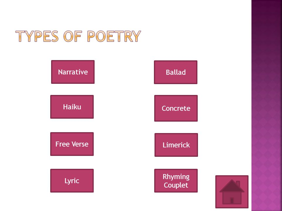 """Complete your note taking guide for the types of poetry by using the links on the """"TYPES OF POETRY"""" page. As you learn about each type of poem use the"""