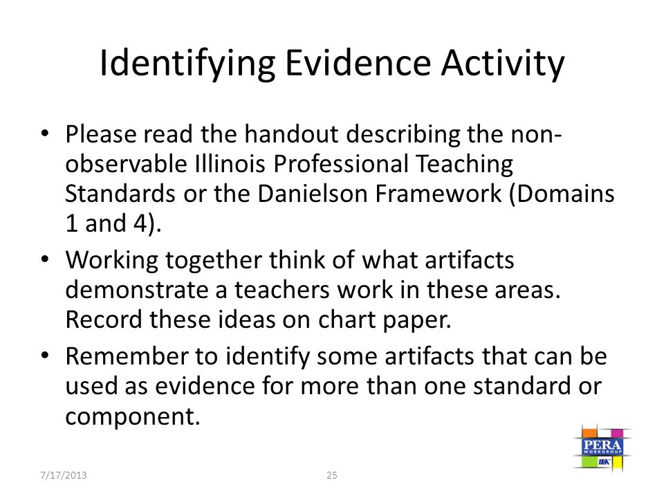 Identifying Evidence Activity Please read the handout describing the non- observable Illinois Professional Teaching Standards or the Danielson Framewo