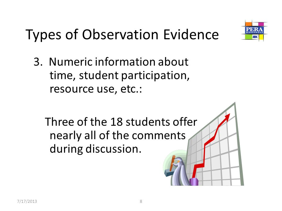 3. Numeric information about time, student participation, resource use, etc.: Three of the 18 students offer nearly all of the comments during discuss