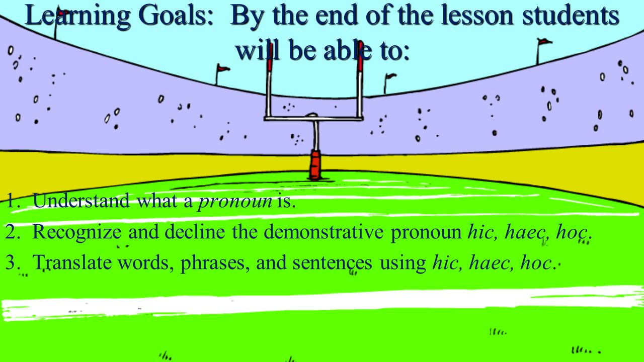 Learning Goals: By the end of the lesson students will be able to: 1.Understand what a pronoun is.