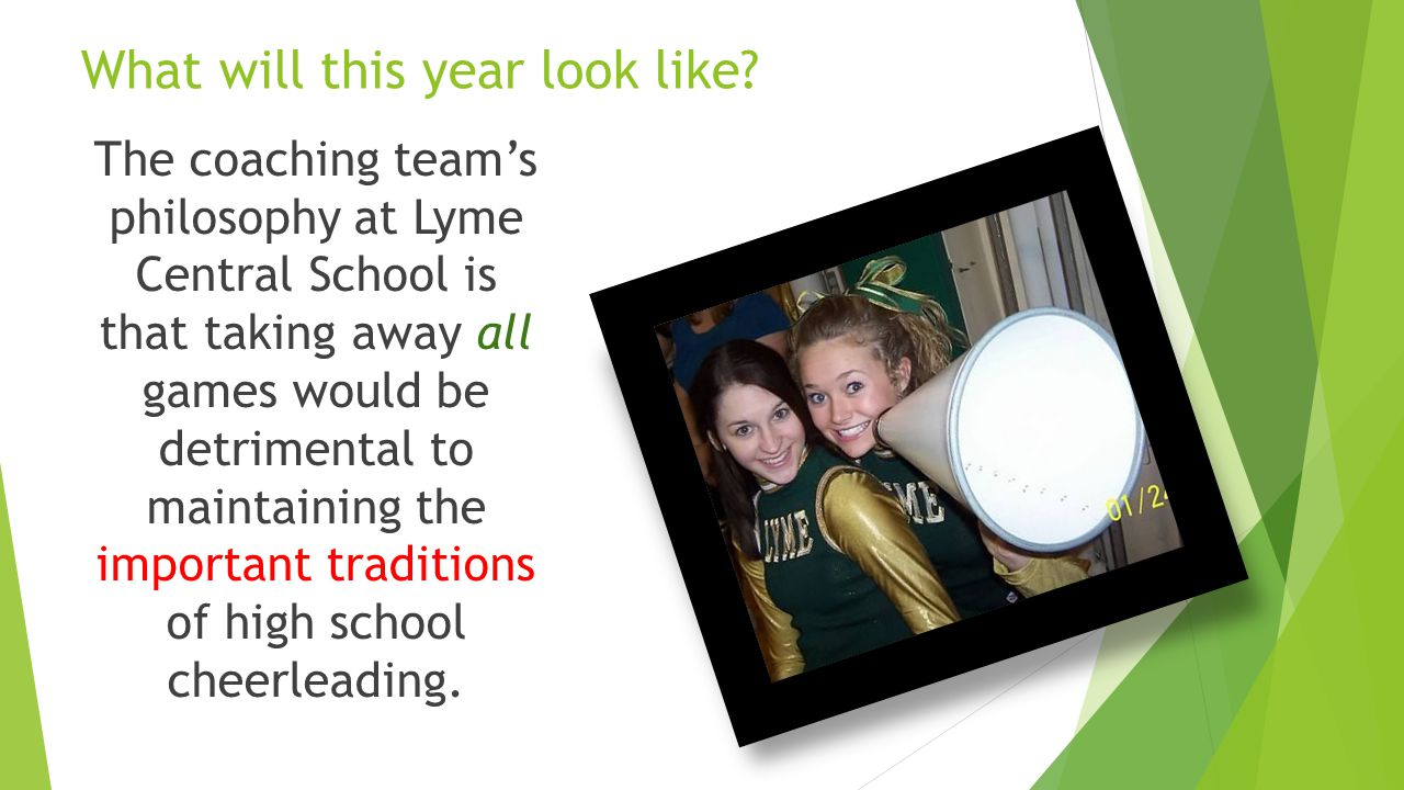 The coaching team at Lyme Central School consists of cheerleaders from both the old school and the new school.