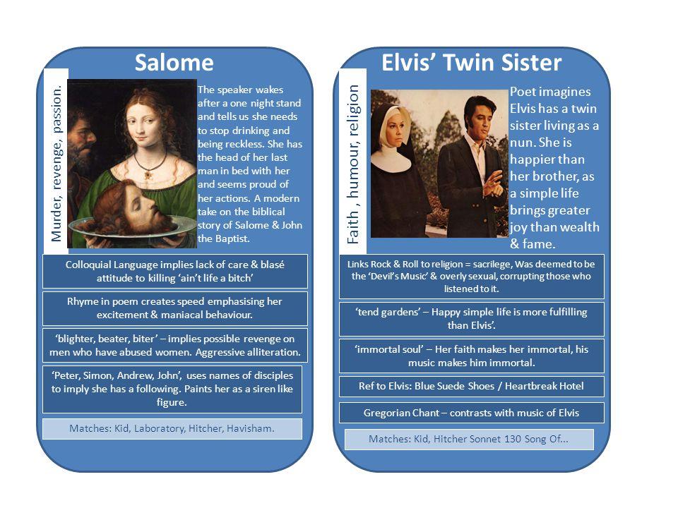 Elvis' Twin Sister Poet imagines Elvis has a twin sister living as a nun.