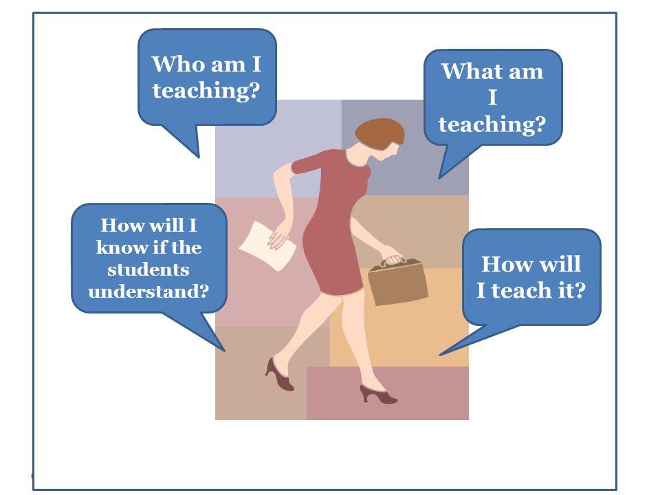 Who am I teaching. How will I teach it. What am I teaching.