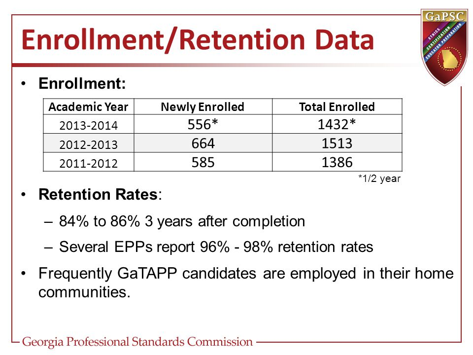 Enrollment/Retention Data Enrollment: *1/2 year Retention Rates: –84% to 86% 3 years after completion –Several EPPs report 96% - 98% retention rates F