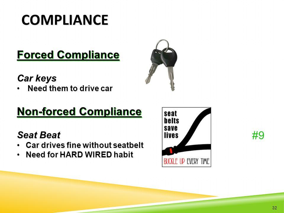 COMPLIANCE Forced Compliance Car keys Need them to drive carNeed them to drive car Non-forced Compliance Seat Beat Car drives fine without seatbeltCar