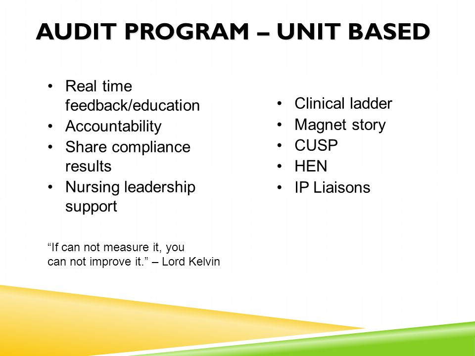 AUDIT PROGRAM – UNIT BASED Real time feedback/education Accountability Share compliance results Nursing leadership support Clinical ladder Magnet stor