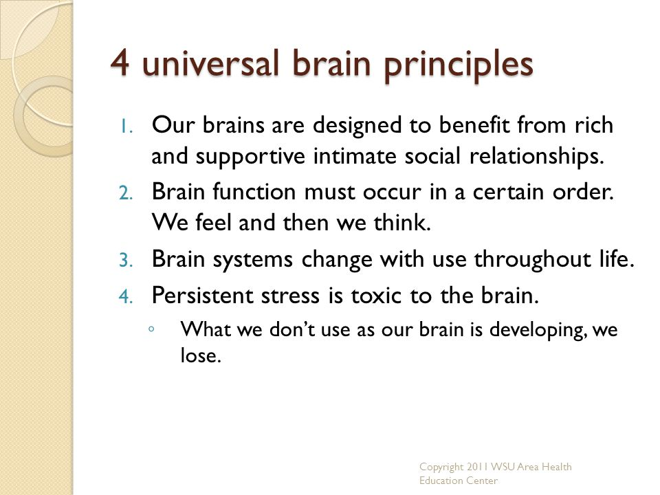 4 universal brain principles 1. Our brains are designed to benefit from rich and supportive intimate social relationships. 2. Brain function must occu