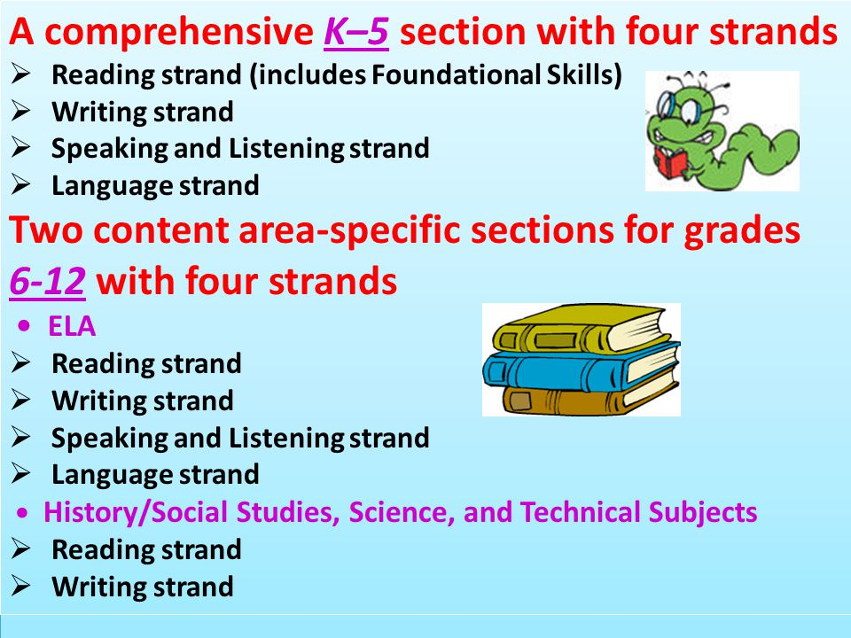 A comprehensive K–5 section with four strands  Reading strand (includes Foundational Skills)  Writing strand  Speaking and Listening strand  Langu