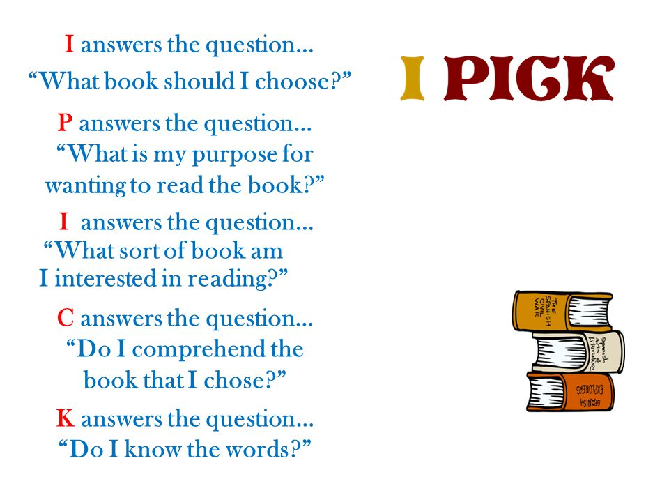 "I answers the question… ""What book should I choose?"" P answers the question… ""What is my purpose for wanting to read the book?"" Ianswers the question…"