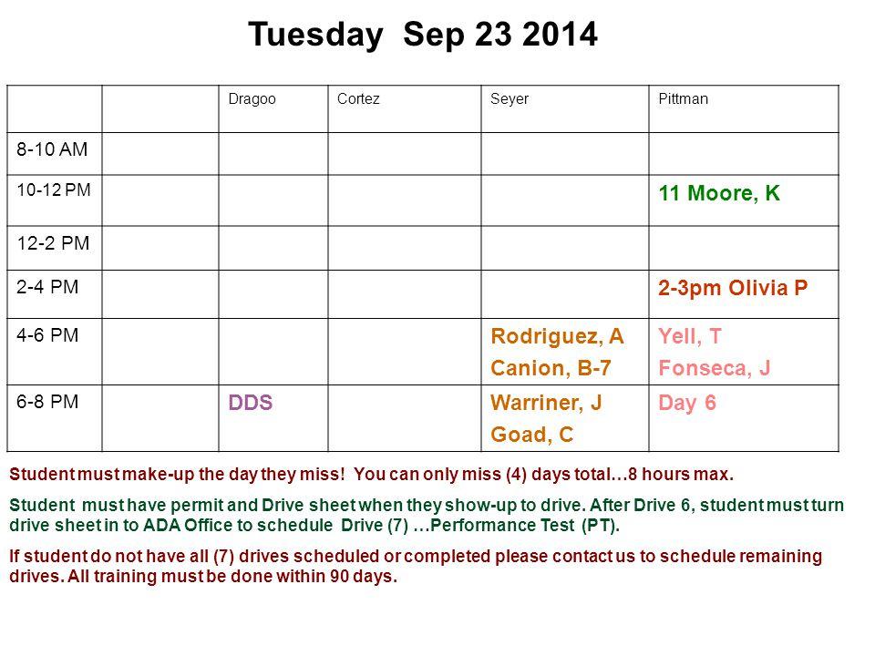 Tuesday Sep 23 2014 DragooCortezSeyerPittman 8-10 AM 10-12 PM 11 Moore, K 12-2 PM 2-4 PM 2-3pm Olivia P 4-6 PM Rodriguez, A Canion, B-7 Yell, T Fonsec