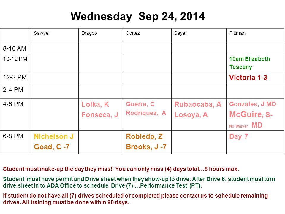 Wednesday Sep 24, 2014 SawyerDragooCortezSeyerPittman 8-10 AM 10-12 PM10am Elizabeth Tuscany 12-2 PM Victoria 1-3 2-4 PM 4-6 PM Loika, K Fonseca, J Gu