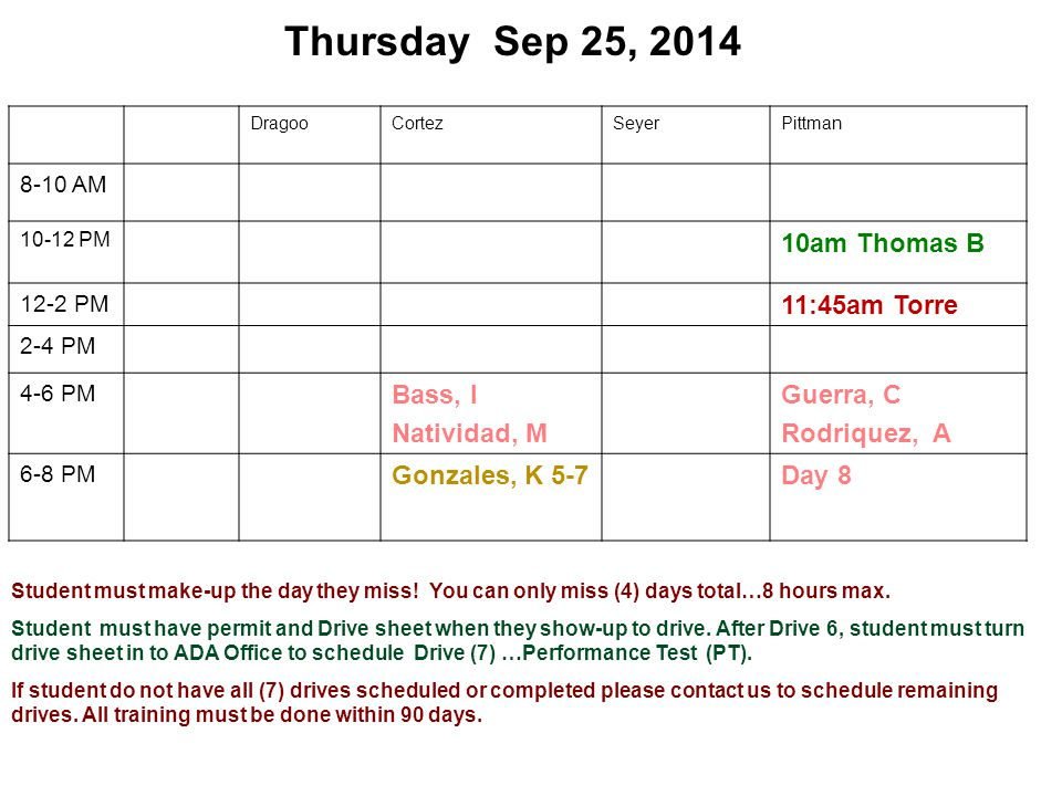Thursday Sep 25, 2014 DragooCortezSeyerPittman 8-10 AM 10-12 PM 10am Thomas B 12-2 PM 11:45am Torre 2-4 PM 4-6 PM Bass, I Natividad, M Guerra, C Rodri