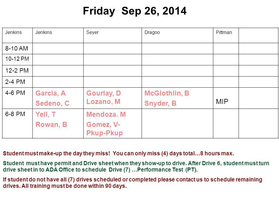 Friday Sep 26, 2014 Jenkins SeyerDragooPittman 8-10 AM 10-12 PM 12-2 PM 2-4 PM 4-6 PM Garcia, A Sedeno, C Gourlay, D Lozano, M McGlothlin, B Snyder, B MIP 6-8 PM Yell, T Rowan, B Mendoza.
