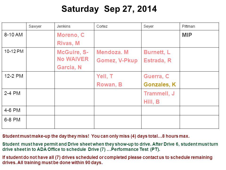 Saturday Sep 27, 2014 SawyerJenkinsCortezSeyerPittman 8-10 AM Moreno, C Rivas, M MIP 10-12 PM McGuire, S- No WAIVER Garcia, N Mendoza.