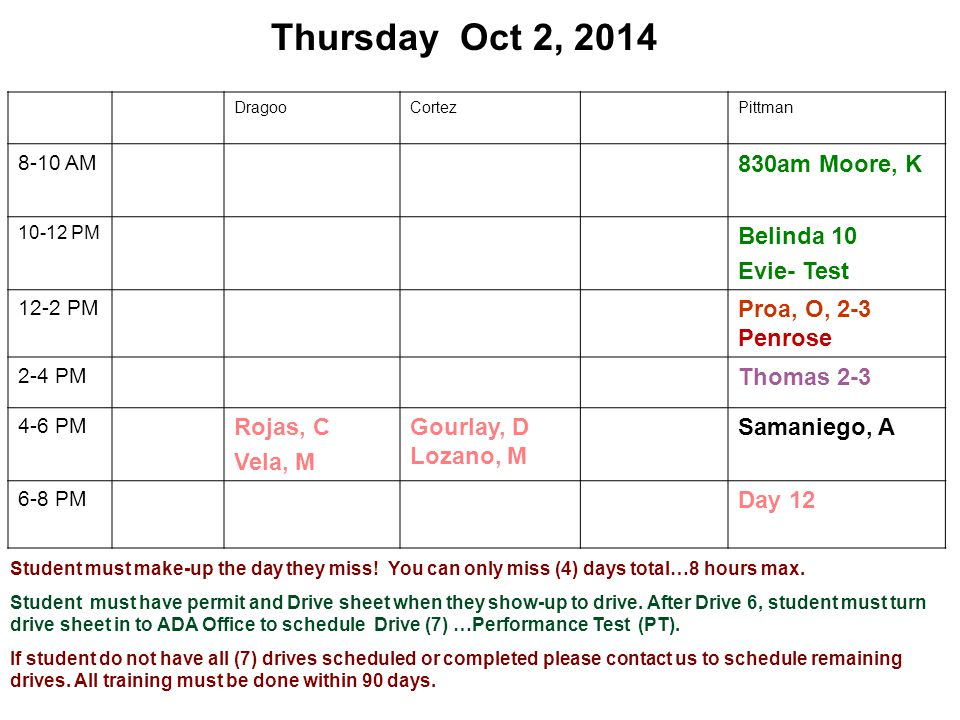 Thursday Oct 2, 2014 DragooCortezPittman 8-10 AM 830am Moore, K 10-12 PM Belinda 10 Evie- Test 12-2 PM Proa, O, 2-3 Penrose 2-4 PM Thomas 2-3 4-6 PM Rojas, C Vela, M Gourlay, D Lozano, M Samaniego, A 6-8 PM Day 12 Student must make-up the day they miss.