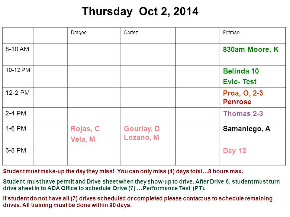 Thursday Oct 2, 2014 DragooCortezPittman 8-10 AM 830am Moore, K 10-12 PM Belinda 10 Evie- Test 12-2 PM Proa, O, 2-3 Penrose 2-4 PM Thomas 2-3 4-6 PM R