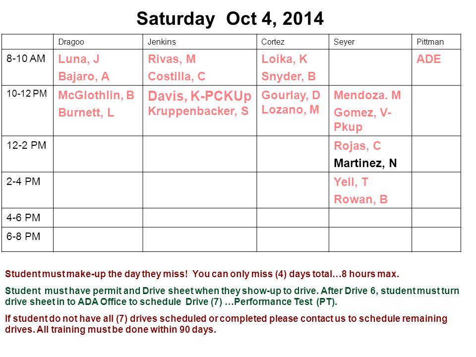 Saturday Oct 4, 2014 DragooJenkinsCortezSeyerPittman 8-10 AM Luna, J Bajaro, A Rivas, M Costilla, C Loika, K Snyder, B ADE 10-12 PM McGlothlin, B Burnett, L Davis, K-PCKUp Kruppenbacker, S Gourlay, D Lozano, M Mendoza.