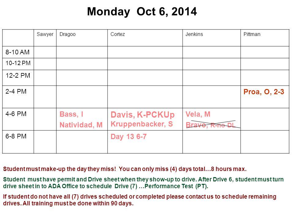 Monday Oct 6, 2014 SawyerDragooCortezJenkinsPittman 8-10 AM 10-12 PM 12-2 PM 2-4 PM Proa, O, 2-3 4-6 PM Bass, I Natividad, M Davis, K-PCKUp Kruppenbacker, S Vela, M Bravo, R-no DL 6-8 PM Day 13 6-7 Student must make-up the day they miss.
