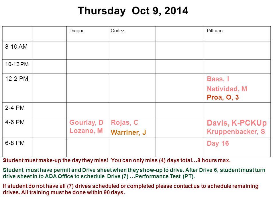 Thursday Oct 9, 2014 DragooCortezPittman 8-10 AM 10-12 PM 12-2 PM Bass, I Natividad, M Proa, O, 3 2-4 PM 4-6 PM Gourlay, D Lozano, M Rojas, C Warriner
