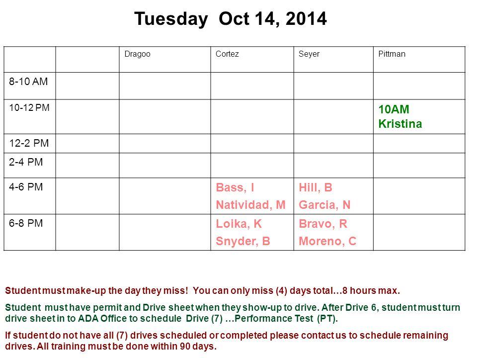 Tuesday Oct 14, 2014 DragooCortezSeyerPittman 8-10 AM 10-12 PM 10AM Kristina 12-2 PM 2-4 PM 4-6 PM Bass, I Natividad, M Hill, B Garcia, N 6-8 PM Loika