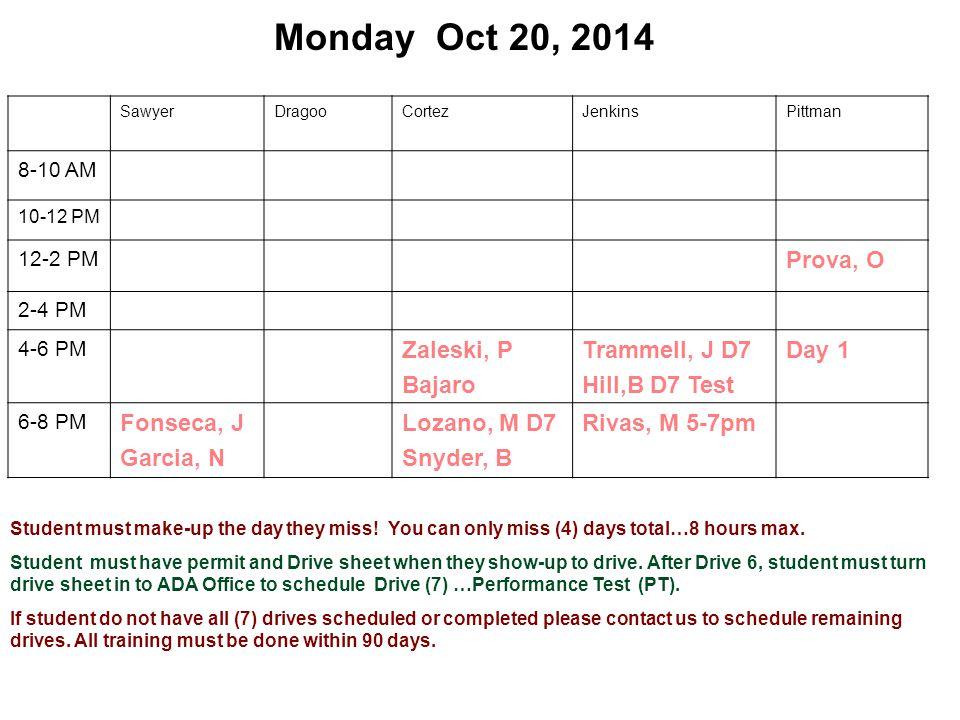 Monday Oct 20, 2014 SawyerDragooCortezJenkinsPittman 8-10 AM 10-12 PM 12-2 PM Prova, O 2-4 PM 4-6 PM Zaleski, P Bajaro Trammell, J D7 Hill,B D7 Test Day 1 6-8 PM Fonseca, J Garcia, N Lozano, M D7 Snyder, B Rivas, M 5-7pm Student must make-up the day they miss.
