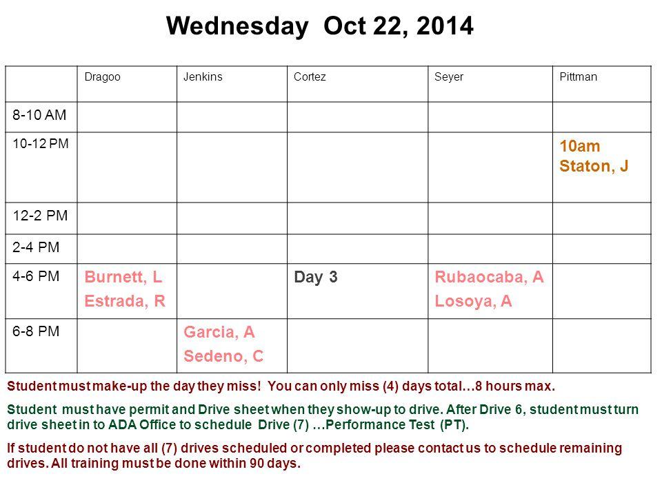 Wednesday Oct 22, 2014 DragooJenkinsCortezSeyerPittman 8-10 AM 10-12 PM 10am Staton, J 12-2 PM 2-4 PM 4-6 PM Burnett, L Estrada, R Day 3Rubaocaba, A L