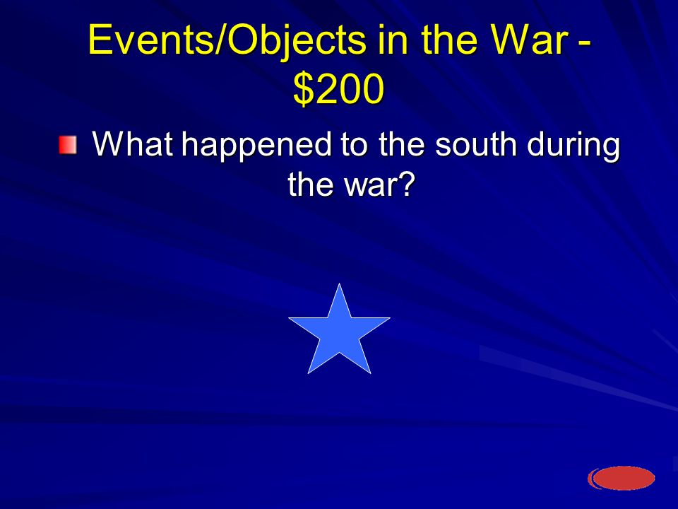 Events/Objects in the War - $200 What happened to the south during the war.