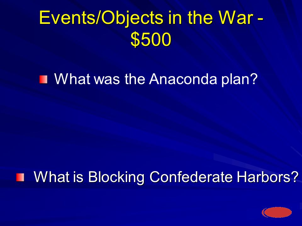 Events/Objects in the War - $500 What is Blocking Confederate Harbors.