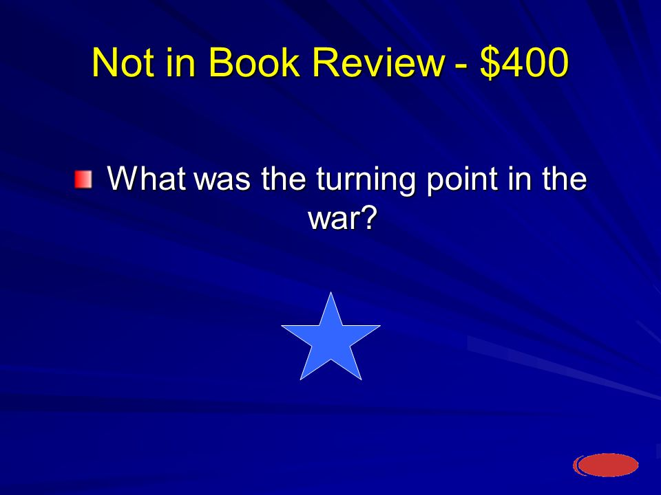 Not in Book Review - $400 What was the turning point in the war.