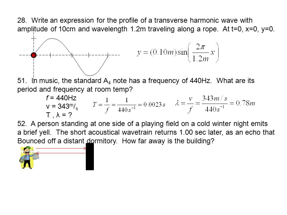 28. Write an expression for the profile of a transverse harmonic wave with amplitude of 10cm and wavelength 1.2m traveling along a rope. At t=0, x=0,