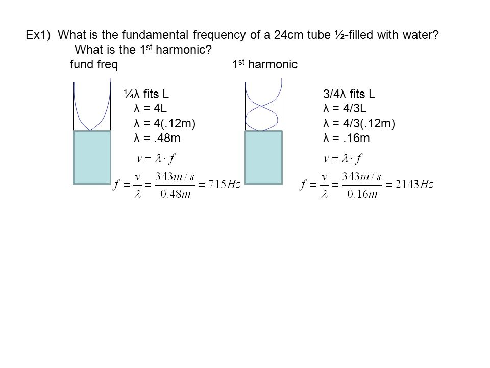 Ex1) What is the fundamental frequency of a 24cm tube ½-filled with water? What is the 1 st harmonic? fund freq 1 st harmonic ¼λ fits L 3/4λ fits L λ