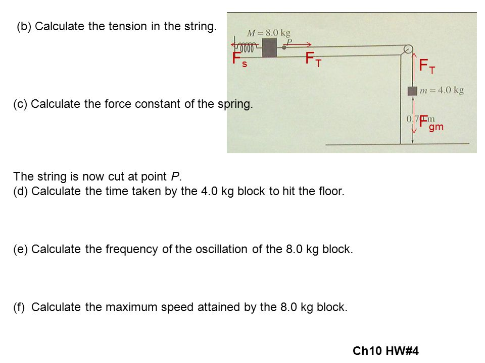 FTFT F gm (b) Calculate the tension in the string. F s F T (c) Calculate the force constant of the spring. The string is now cut at point P. (d) Calcu
